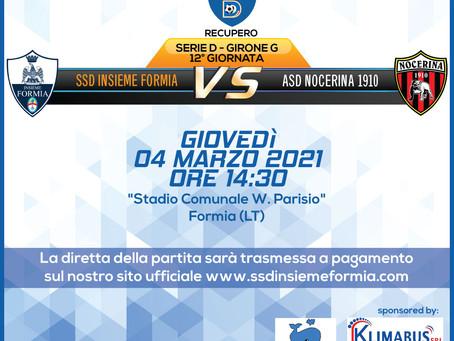 Recupero 12° di Campionato - Insieme Formia Vs Nocerina