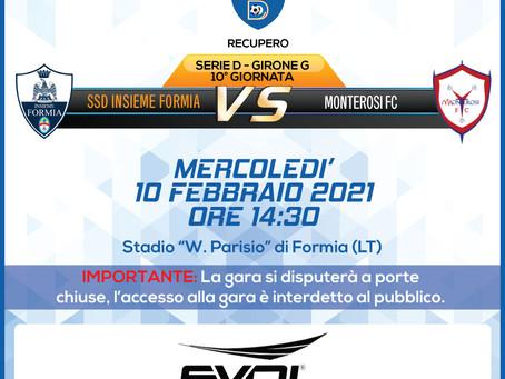 Recupero 10° di Campionato - Insieme Formia Vs Monterosi FC