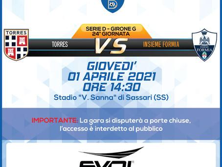 24° di Campionato - Torres Vs Insieme Formia