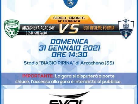 14° di Campionato - Arzachena Academy Costa Smeralda vs Insieme Formia