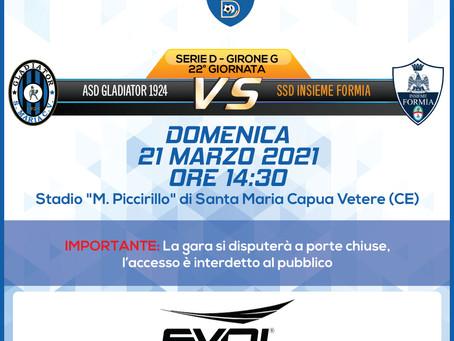 22° di Campionato - Gladiator Vs Insieme Formia