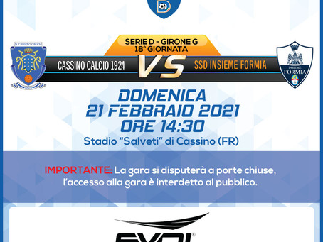 18° di Campionato - Cassino Vs Insieme Formia