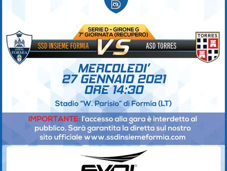 Recupero 7° di Campionato - Insieme Formia vs Torres