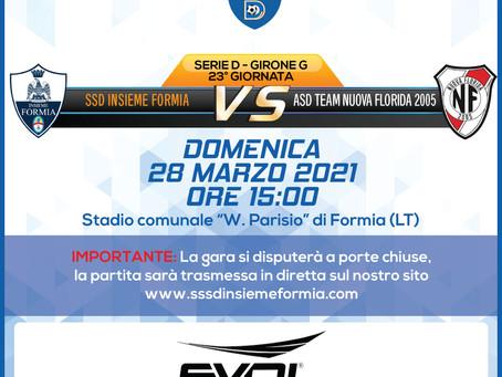 23° di Campionato - Insieme Formia Vs Team Nuova Florida
