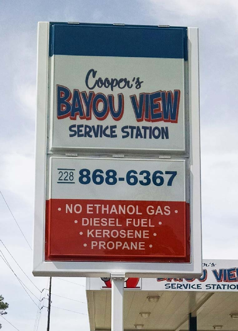 Coopers Bayou View Lexan Can Sign