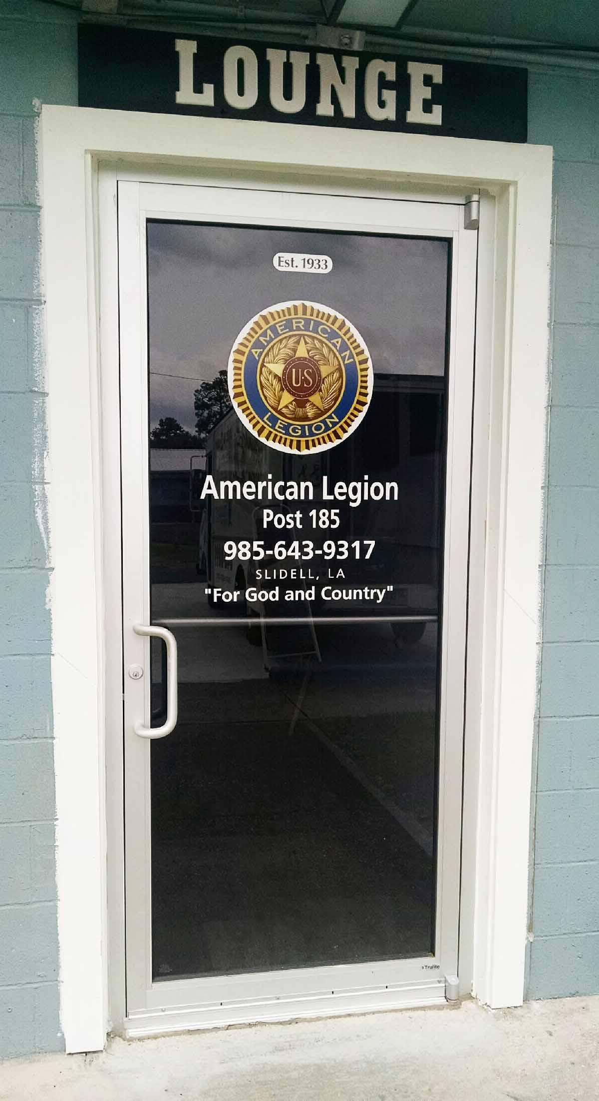 American Legion Post 185 Glass Door 0914