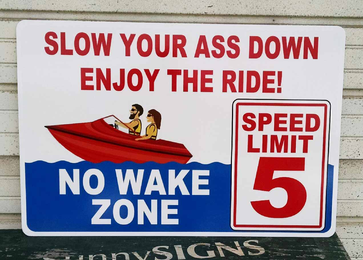 Aluminum No Wake Sign