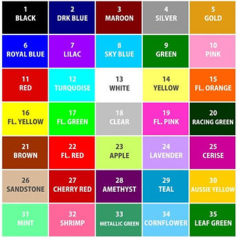 P&A Dental Lab Sports Guard colourchart