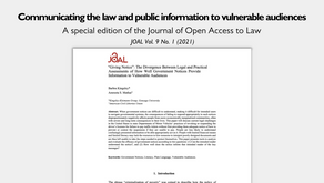 Joint paper with the American Civil Liberties Union published in the Journal of Open Access to Law