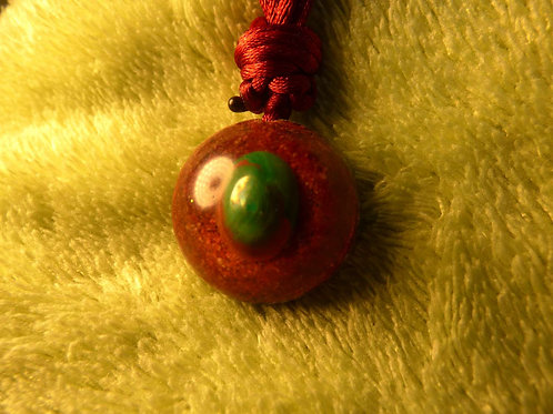 Small Orgonite Necklace, Reiki Spiral on back