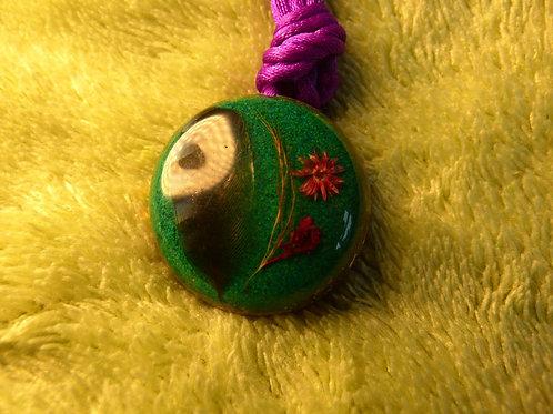 Feather & Flower ORGONITE, orgonite necklace (small- medium)
