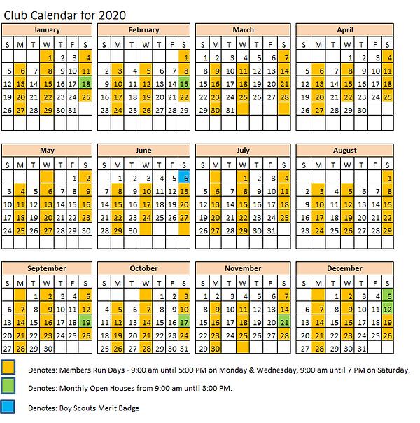 2020 CLRC Run Calendar for 2020 revised