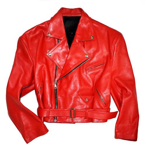 RED ROSE LEATHER BIKER JACKET