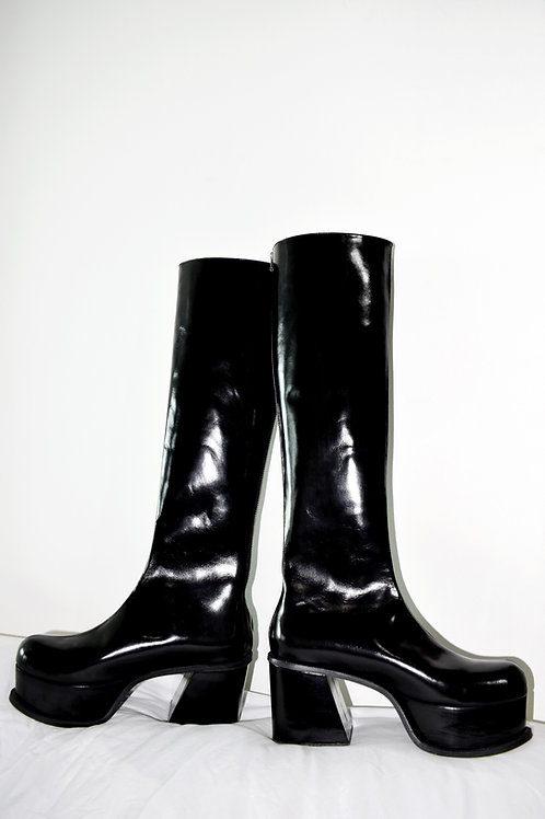 HIGH  KNEE PATENT LEATHER BOOTS