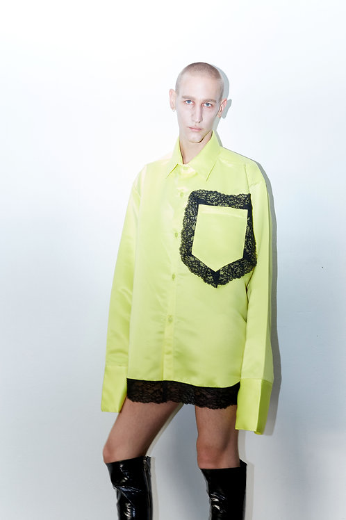 LEMOON YELLOW LONG SLEEVE SHIRT WITH LACE DETAIL
