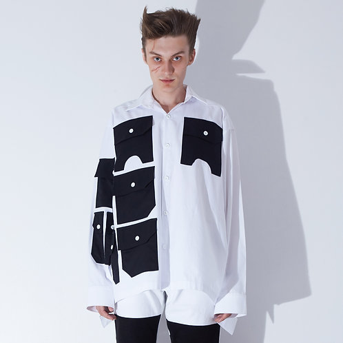 WHITE MULTI  POCKETS  SHIRT
