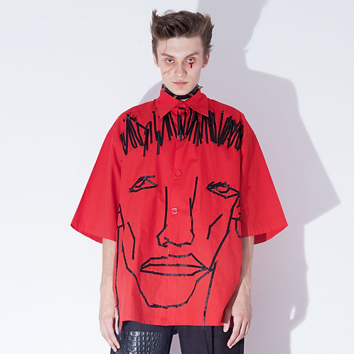 RED FACE EMBROIDERED SHORT SLEEVE SHIRT