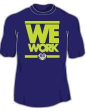 We Work - Blue Shirt - Lime Print