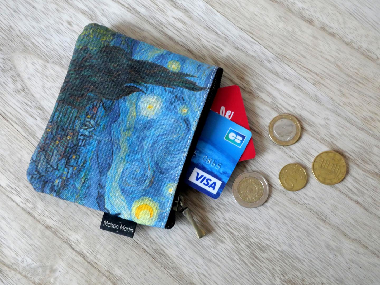 Maison Martin par Royal Tapisserie porte-monnaie carré Nuit Etoilée de Van Gogh (référence 438V6)