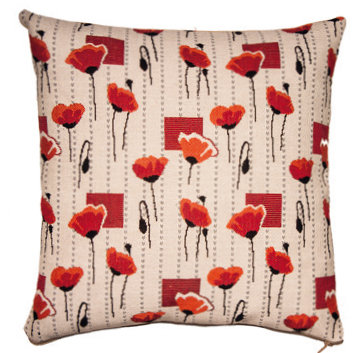 tapestry cushion poppies poppy royal tapisserie made in france woven fabric paris versailles tapestry