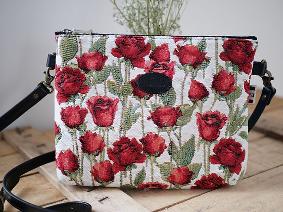 Sac à main trousse coussin Royal Tapisserie roses tapestry handbag red roses pencil case pouch cushion made in france