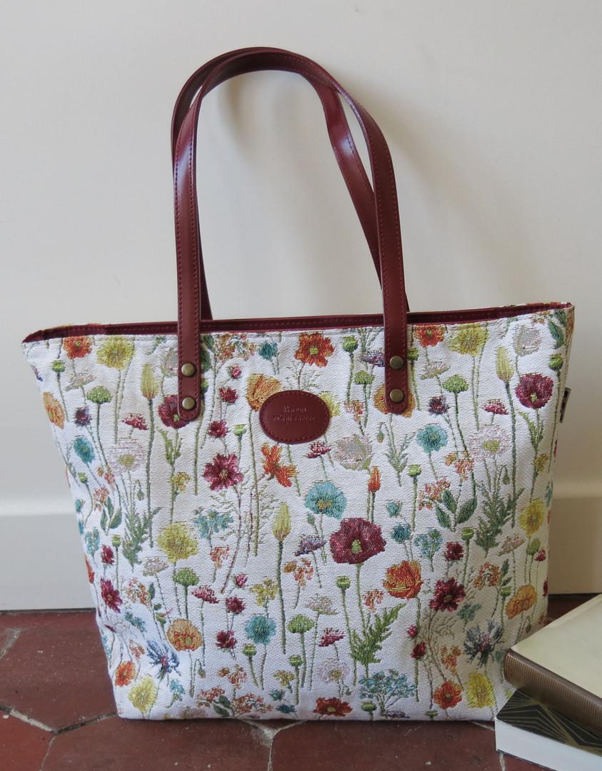 "Sac shopping de la collection ""Fleurs des Champs"" (ref 8976.74) Royal Tapisserie / Shopping bag tapestry"