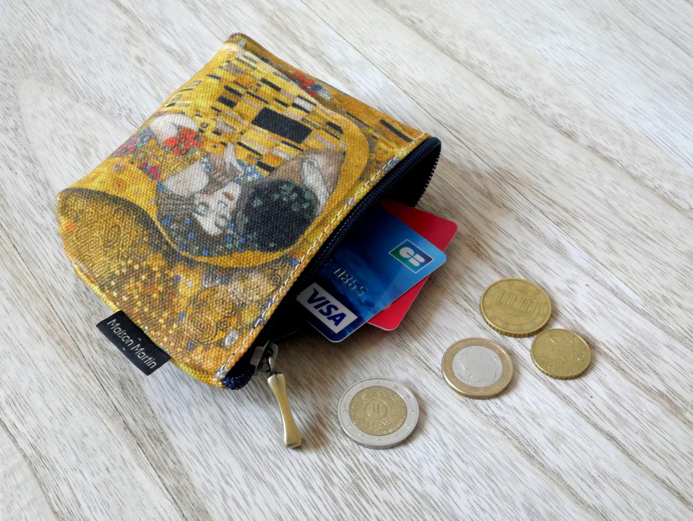 """Maison Martin par Royal Tapisserie porte-monnaie zippé """"Le Baiser"""" de Gustav Klimt (référence 419K1)"""