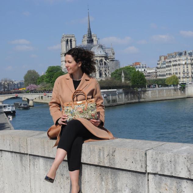 "Sac à main motif ""Fleurs de Prunier"" (ref 8967.1) Royal Tapisserie / Handbag tapestry"