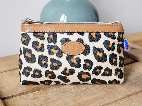 Trousse de toilette leopard panthere pochette porte monnaie etui lunette sac à main pencil case handbag coin purse glasses