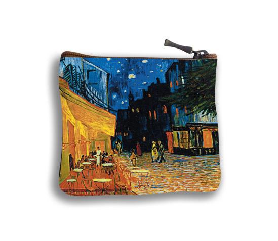 """Porte-monnaie carré """"Terrasse du café le soir"""" - Référence 438V1"""