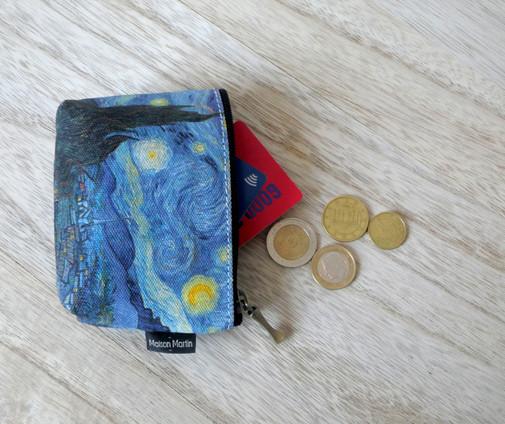 Maison Martin par Royal Tapisserie porte-monnaie zippé Nuit Etoilée de Van Gogh (référence 419V6)