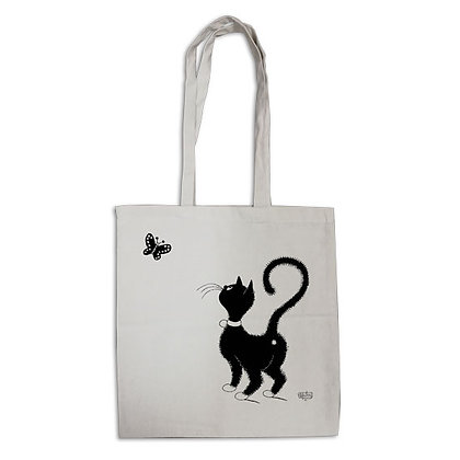 Les chats de dubout tote bag eco bag chat papillon pochette trousse sac main trio pencil case bag handbag cats