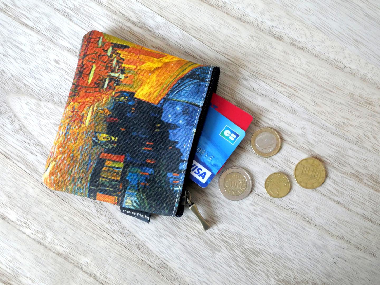 """Maison Martin par Royal Tapisserie porte-monnaie carré """"Terrasse du café le soir"""" de Van Gogh (référence 438V1)"""
