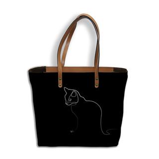 """Sac shopping Quibe """"Chat"""" fond noir   Référence 8976CN"""