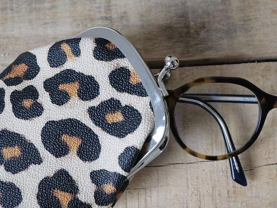 Etui à lunettes leopard panthere pochette porte monnaie trousse sac à main pencil case handbag coin purse glasses