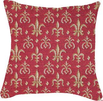 Coussin Fleurs de Lys fond rouge 45 x 45 cm