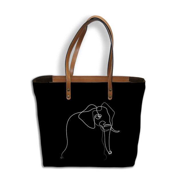 "Sac shopping Quibe ""Eléphant"" fond noir   Référence 8976EN"