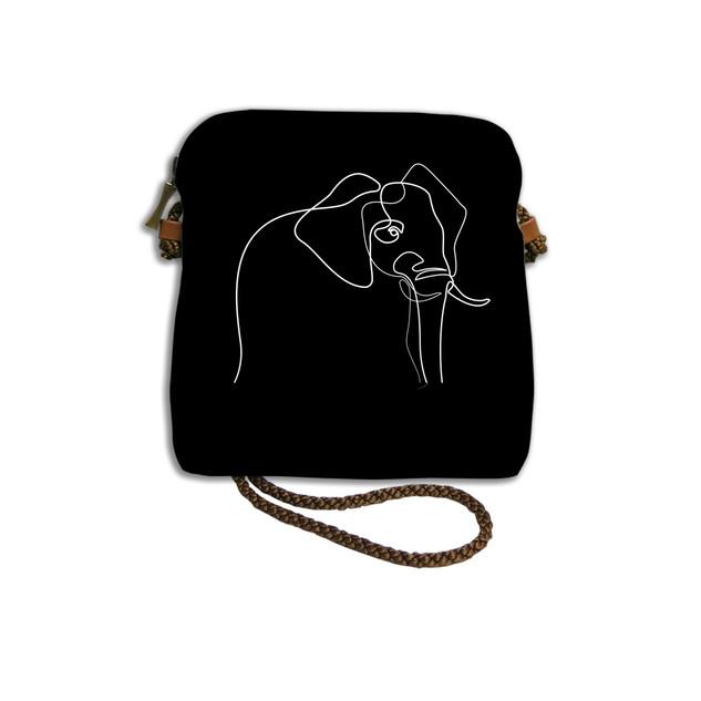 """Petit sac cordon Quibe """"Eléphant"""" fond noir  Référence 8971EN Maison Martin"""