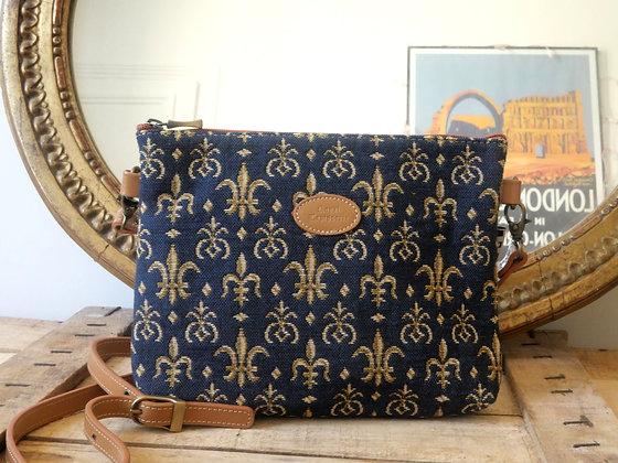 8972.9 Sac bandoulière Fleurs de Lys bleu