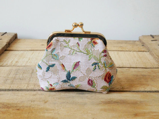royal tapisserie fleurs de lys porte monnaie sac à main coussin fabriqué en france tapestry handbag coin purse made in france