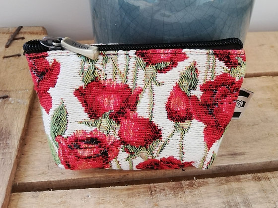 porte monnaie trousse coussin Royal Tapisserie roses tapestry coin purse red roses pencil case pouch cushion made in france