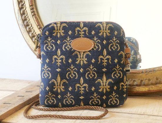 8971.9 Petit sac 3 courses Fleurs de Lys bleu