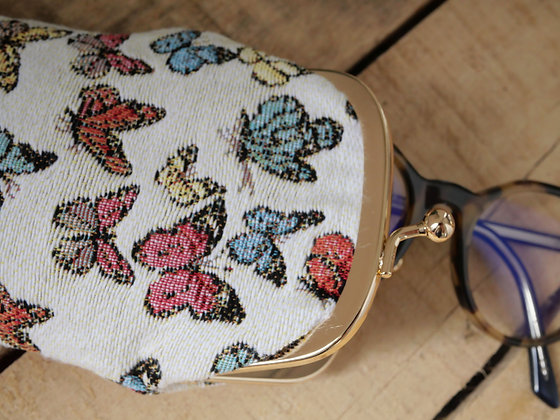 etui lunette Royal Tapisserie papillons tapestry handbag butterflies butterfly pencil case pouch cushion glasses case france