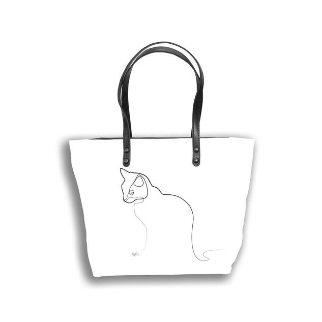 """Sac shopping Quibe """"Chat"""" fond blanc  Référence 8976CB"""