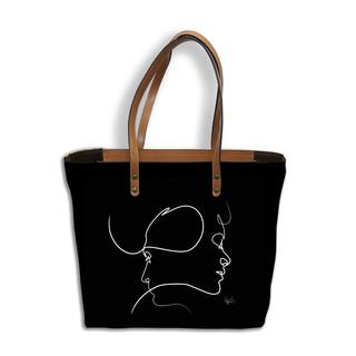 "Sac shopping Quibe ""Presque"" fond noir   Référence 8976PN"