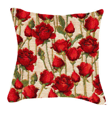 coussin tapisserie roses rouges tissu jacquard royal tapisserie 45x45cm tapestry cushion red roses royal tapestry
