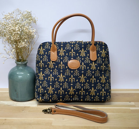 handbag Lilies flowers tapestry bag royal tapisserie lily flower royale tapestries handbag royal tapisserie made in france