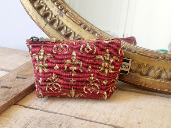royal tapisserie fleurs de lys porte monnaie coussin tapestry coin purse lilies flower cushion coussin made in france