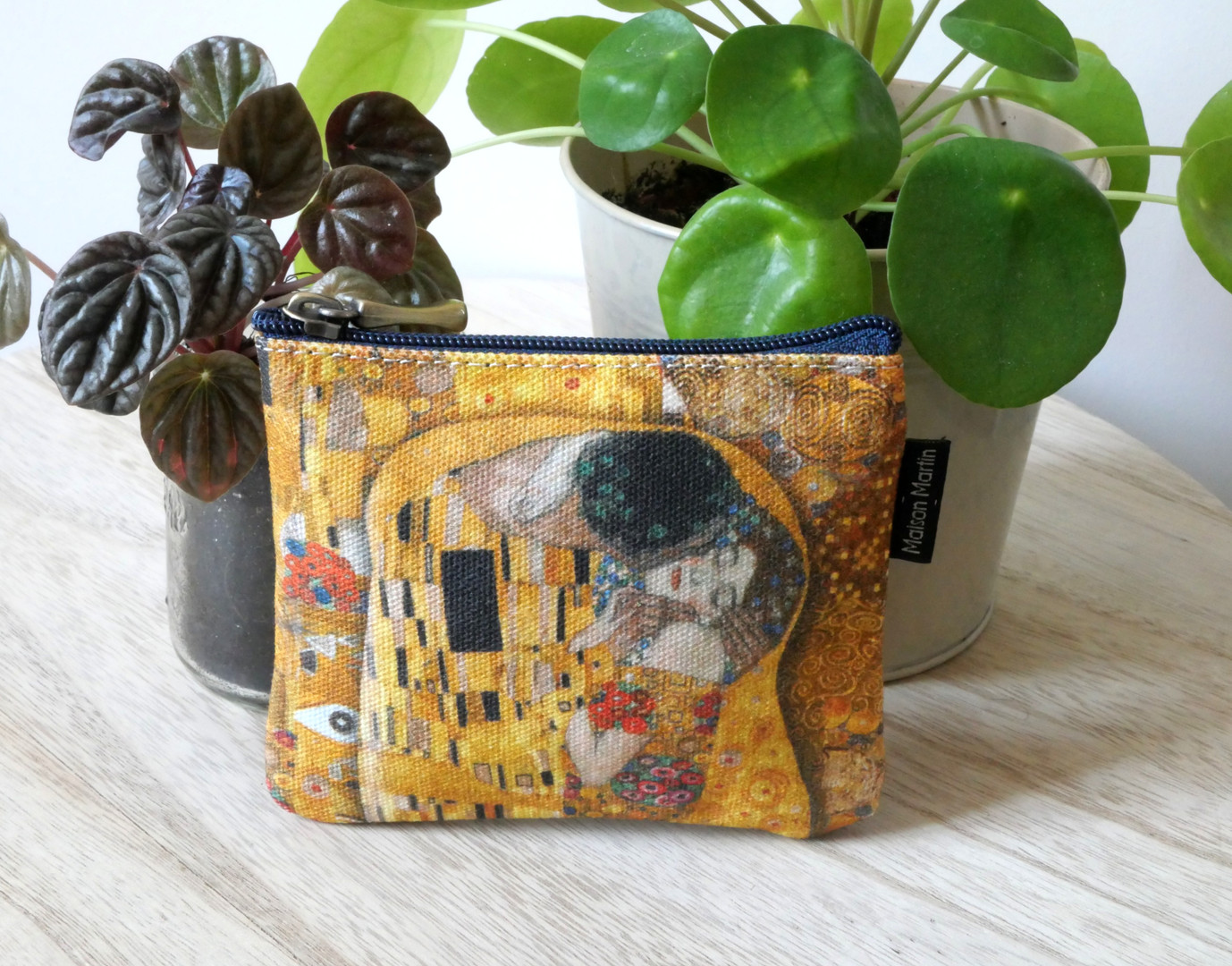 """Maison Martin par Royal Tapisserie porte-monnaie carré """"Le Baiser"""" de Gustav Klimt (référence 438K1)"""