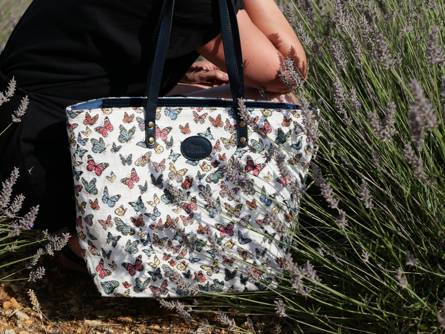 "Sac shopping de la collection ""Papillons"" (ref 8976.68) Royal Tapisserie / Shopping bag tapestry"
